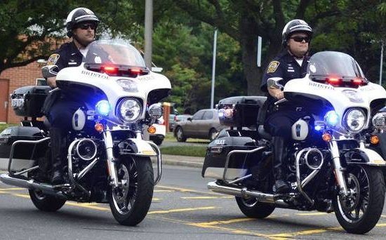 Bristol Police Department officers riding motorcycles