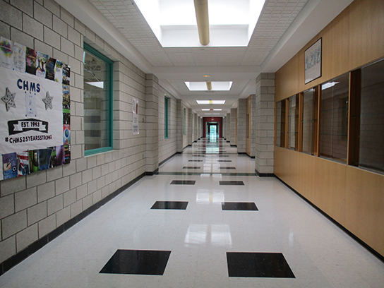 Chippens Hill Middle School newly-polished hallway