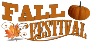 Fall Festival graphic with leaves and pumpkin