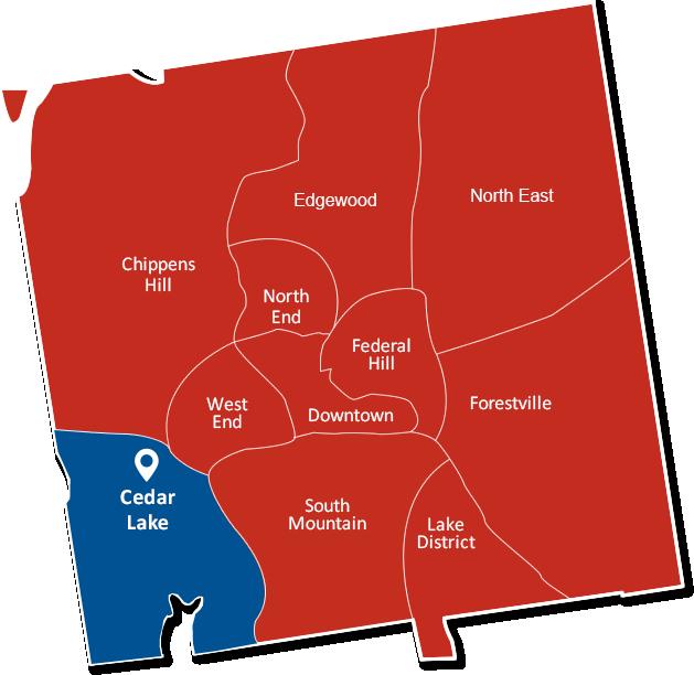 Cedar Lake Bristol CT map graphic