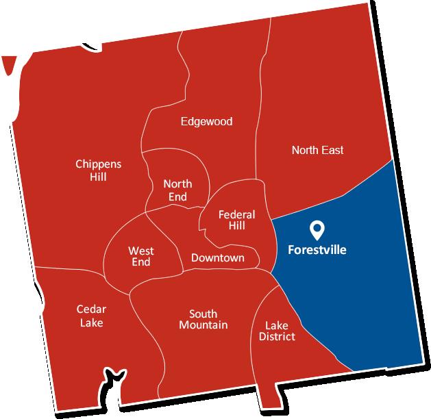 Forestville Bristol Connecticut map graphic