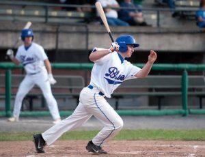 Bristol Blues baseball player running to first base